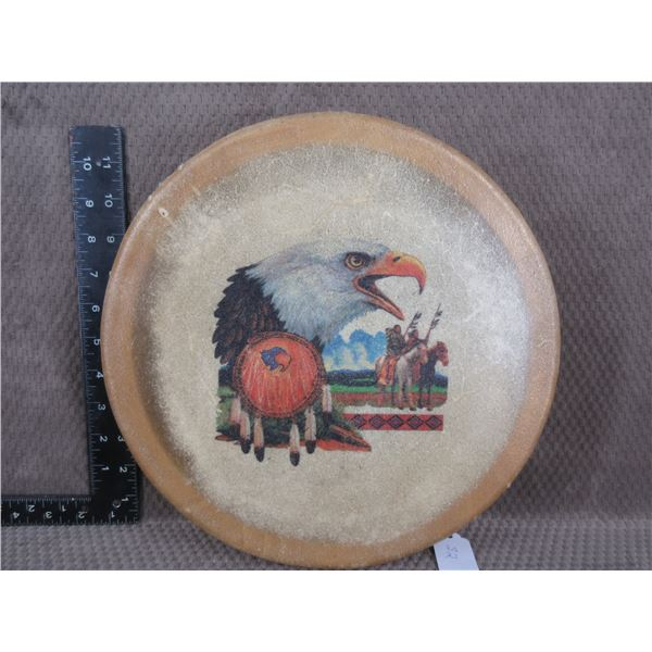 Indigenous Tea Drum with Painted Eagle on Rawhide