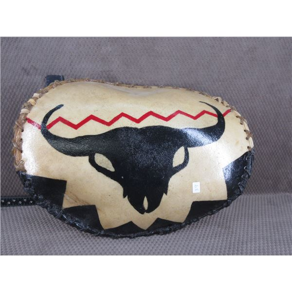 Indigenous War Dance Shield with Painted Buffalo Skull