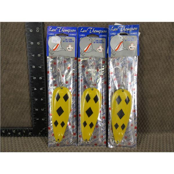 3 - Len Thompson #4 Black Diamond Hooks - New Old Stock