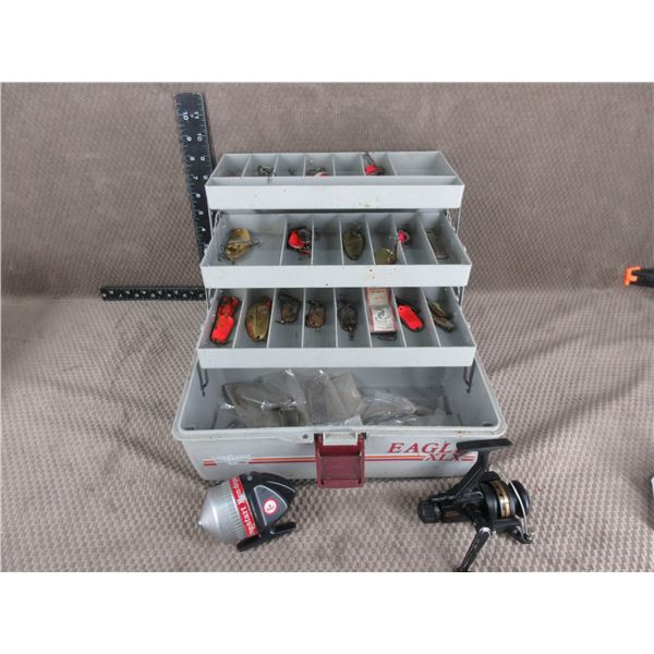 Tackle Box with Various Hooks and 2 Reels