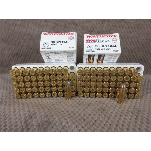 38 Special, 125 gr, JSP, Winchester - 2 Boxes of 50