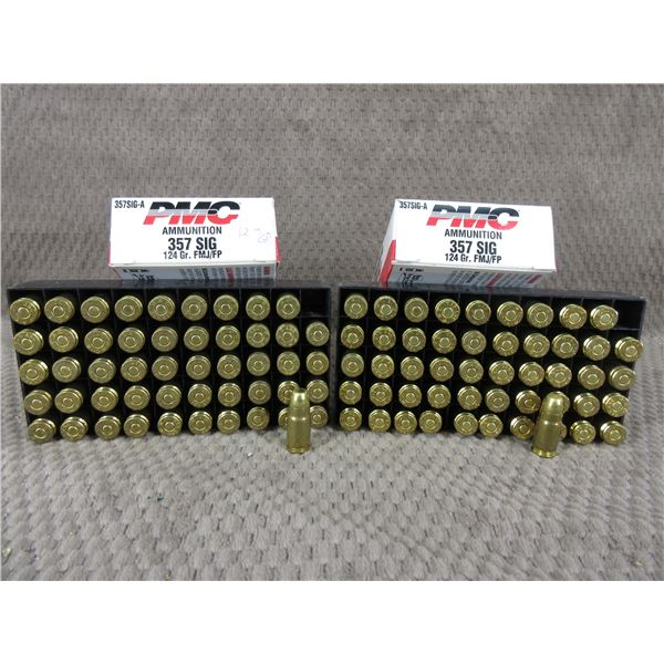 357 SIG. 124 gr, FMJ/FP, PMC - 2 Boxes of 50