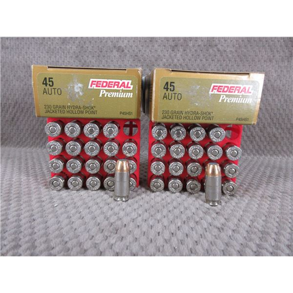 45 Auto 230 gr, JHP, Federal - 2 Boxes of 20