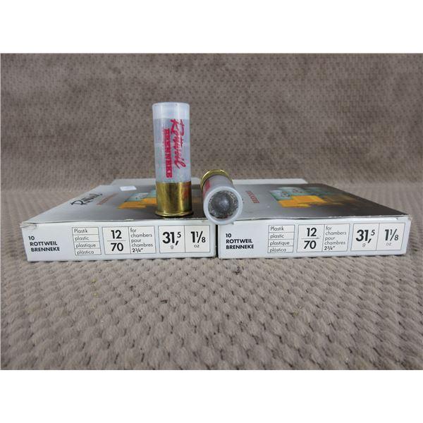 """12 ga 2 3/4"""" 31.5 gr, 1 1/8 oz Slug, Rottweil - 2 Boxes of 10"""