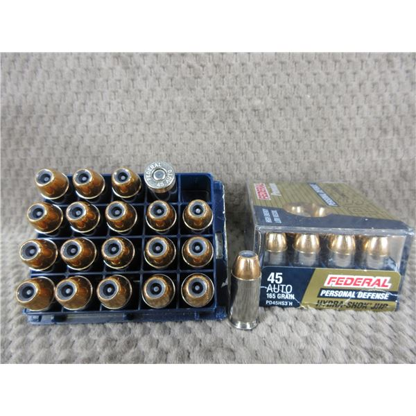 45 Auto 165 gr, JHP, Federal - 2 Boxes of 20