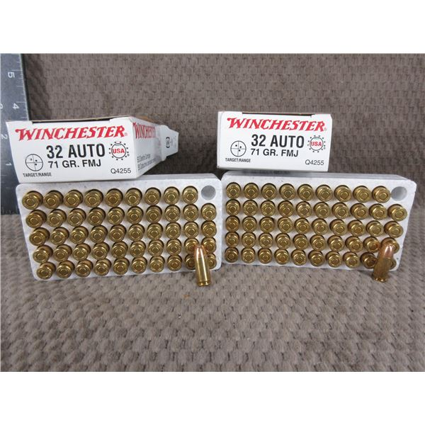 32 Auto, 71 gr, FMJ, Winchester  - 2 Boxes of 50
