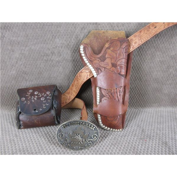 """Holster, Ammo Pouch & 34"""" Belt - All Leather"""