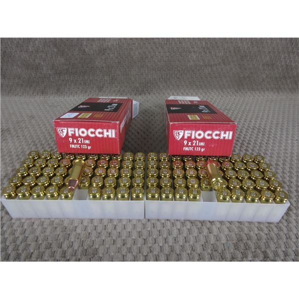 9 X 21, 123 gr, FMJ, Fiocchi - 2 Boxes of 50