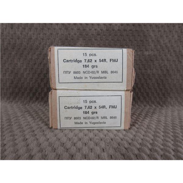 7.62 X 54R FMJ, 184 gr, Yugoslavia - 2 Boxes of 15