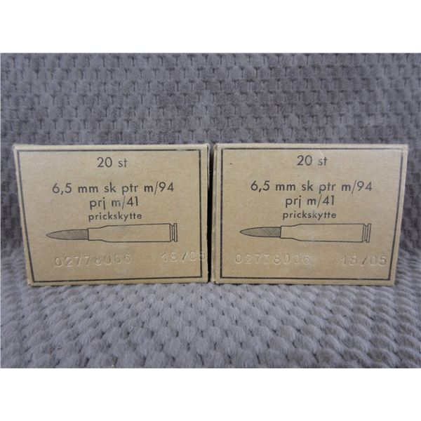 6.5 X 55 Prickskytte 2 Boxes of 20 Unopened
