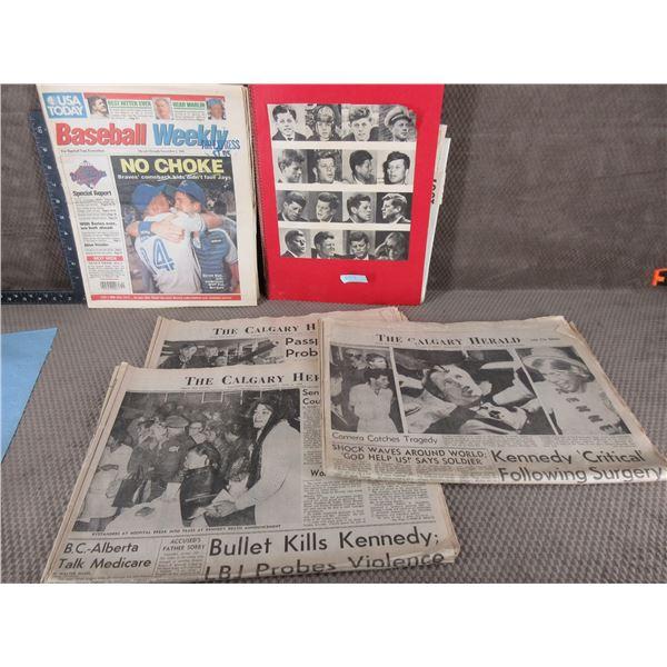 Scrapbook of John Kennedy & 4 Newspapers
