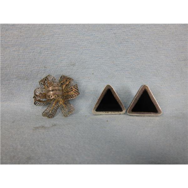Sterling Silver Ear Rings & Brooch