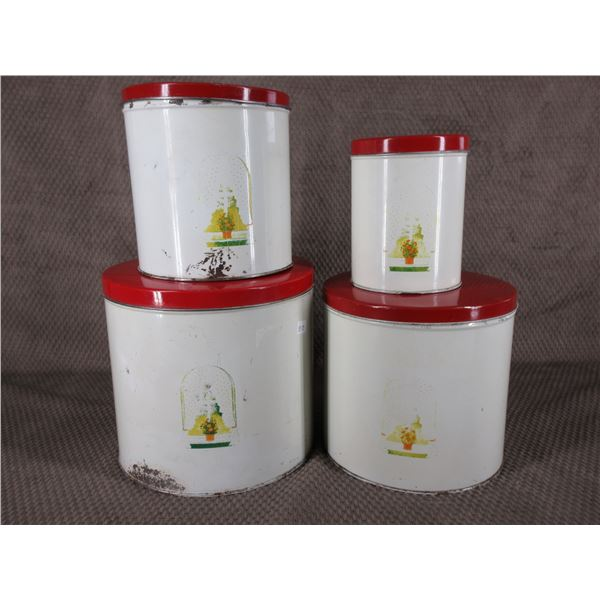 4 Piece  Red & Cream Canister Set