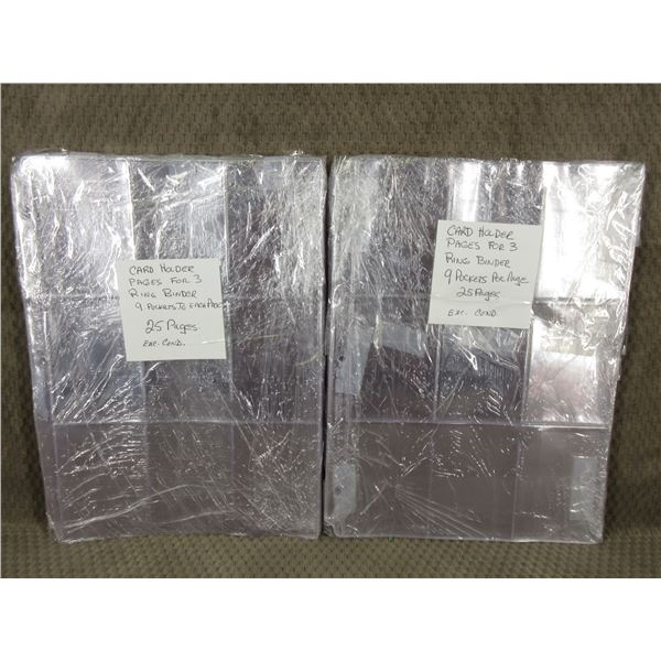 50 - 3 Ring Binder Card Holder 2 Packs of 25 Pages