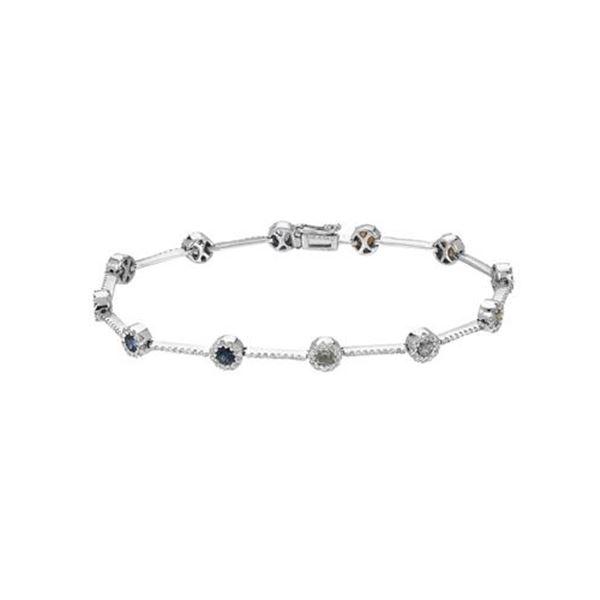 Natural 3.11 CTW Multi-Sapphire & Diamond Bracelet 14K White Gold - REF-141W3H