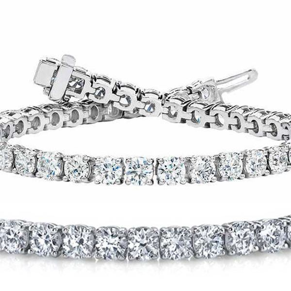 Natural 7.04ct VS2-SI1 Diamond Tennis Bracelet 14K White Gold - REF-592F5R