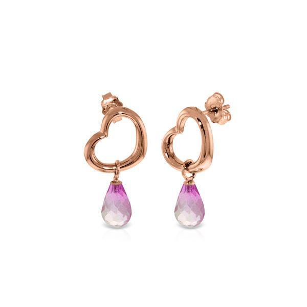 Genuine 4.5 ctw Pink Topaz Earrings 14KT Rose Gold - REF-42F6Z