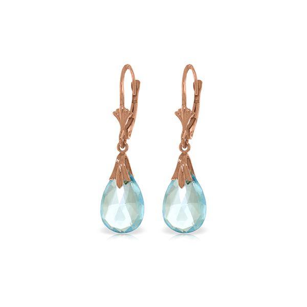 Genuine 6 ctw Blue Topaz Earrings 14KT Rose Gold - REF-27P8H