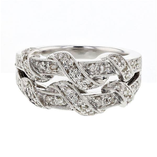 Natural 0.35 CTW Diamond Ring 14K White Gold - REF-79K2R