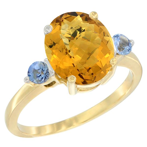 2.64 CTW Quartz & Blue Sapphire Ring 14K Yellow Gold - REF-31V4R