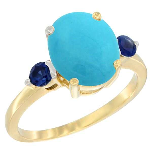 2.64 CTW Turquoise & Blue Sapphire Ring 10K Yellow Gold - REF-30M5K