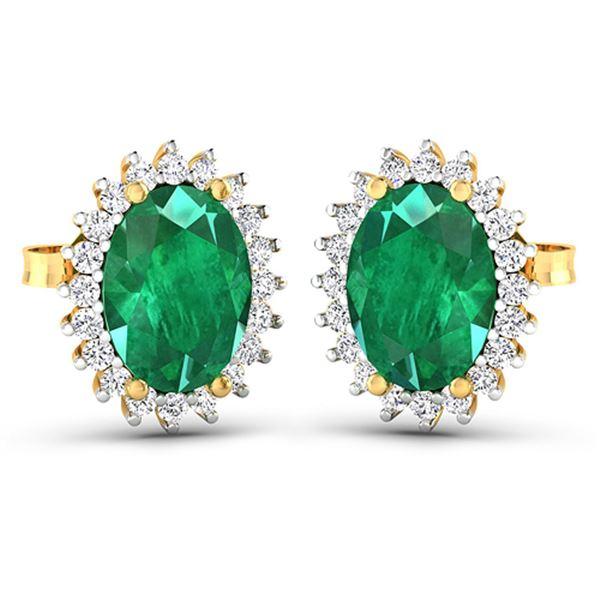 Natural 2.46 CTW Zambian Emerald & Diamond Earrings 14K Yellow Gold - REF-49N3R