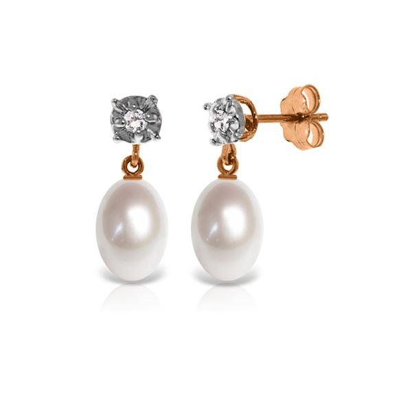 Genuine 8.06 ctw Pearl & Diamond Earrings 14KT Rose Gold - REF-27R4P
