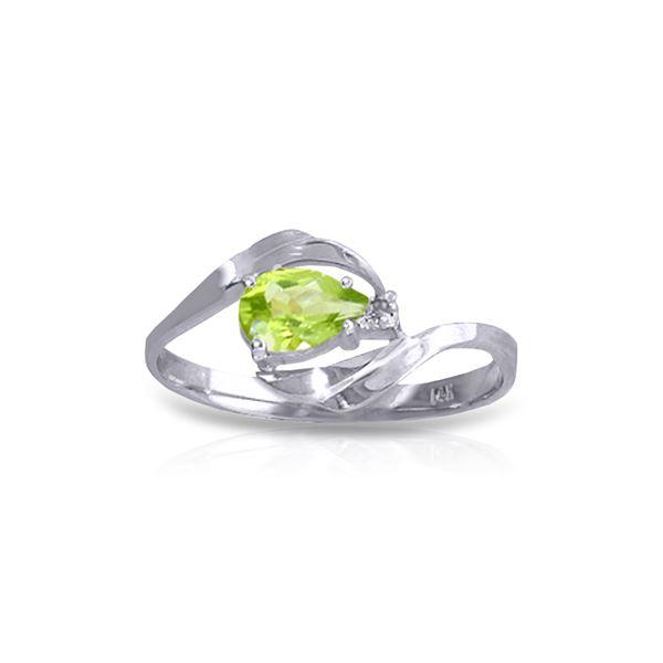 Genuine 0.41 ctw Peridot & Diamond Ring 14KT White Gold - REF-26H6X