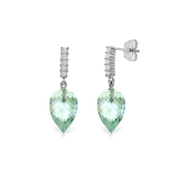 Genuine 22.65 ctw Blue Topaz & Diamond Earrings 14KT White Gold - REF-63M5T
