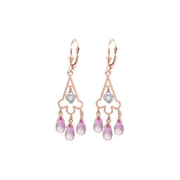 Genuine 4.83 ctw Pink Topaz & Diamond Earrings 14KT Rose Gold - REF-52P7H