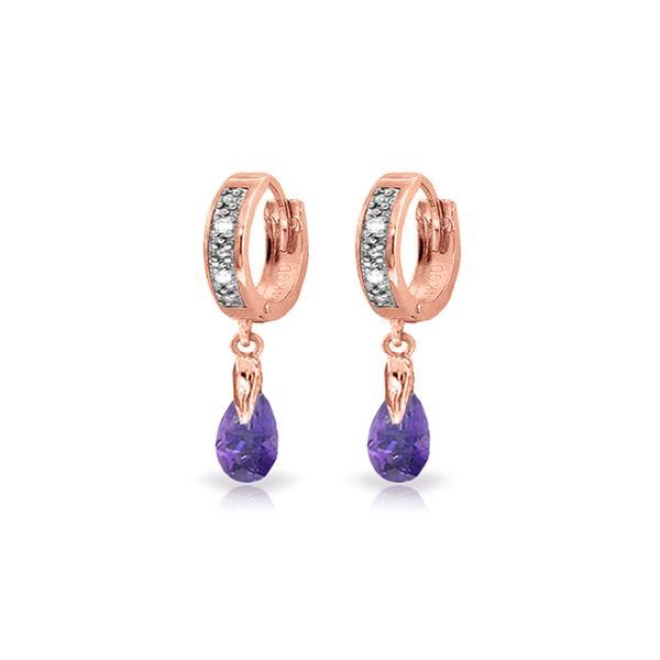 Genuine 1.37 ctw Amethyst & Diamond Earrings 14KT Rose Gold - REF-34A3K