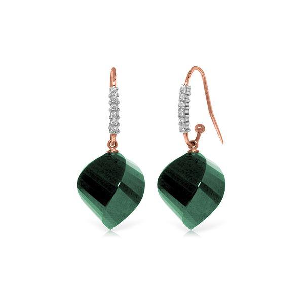 Genuine 30.68 ctw Green Sapphire Corundum & Diamond Earrings 14KT Rose Gold - REF-67A3K