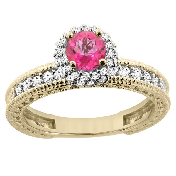 0.91 CTW Pink Topaz & Diamond Ring 14K Yellow Gold - REF-65V9R