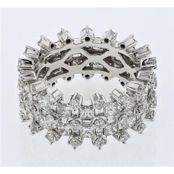 Natural 4.79 CTW Princess Diamond & Baguette Ring 18K White Gold - REF-692W3H