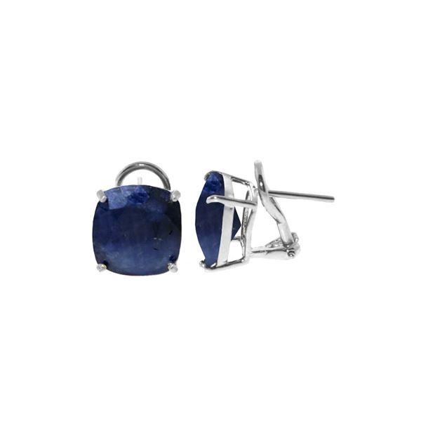 Genuine 9.66 ctw Sapphire Earrings 14KT White Gold - REF-86T4A