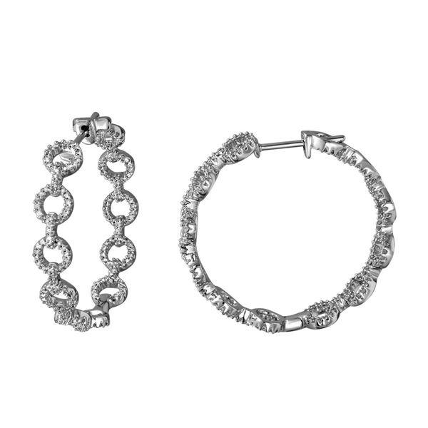 1.1 CTW White Round Diamond Hoop  Earring 14K White Gold - REF-109V3T