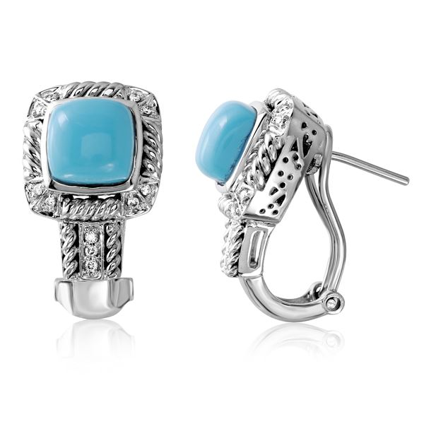 Natural 3.17 CTW Turquoise & Diamond Earrings 14K White Gold - REF-77N4Y
