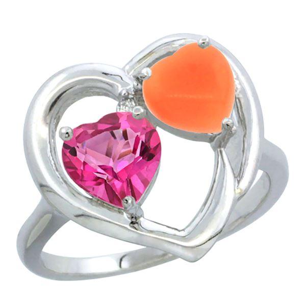 1.31 CTW Pink Topaz & Diamond Ring 14K White Gold - REF-33X5M