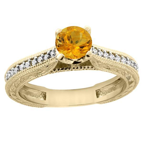0.57 CTW Citrine & Diamond Ring 14K Yellow Gold - REF-53R2H