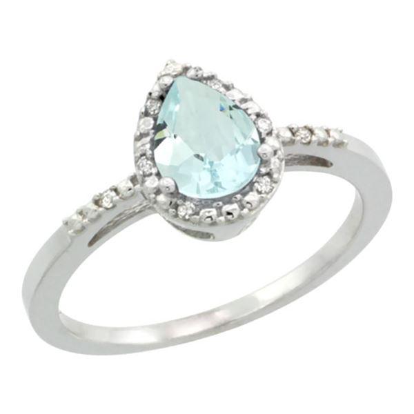 1.55 CTW Aquamarine & Diamond Ring 10K White Gold - REF-25R6H