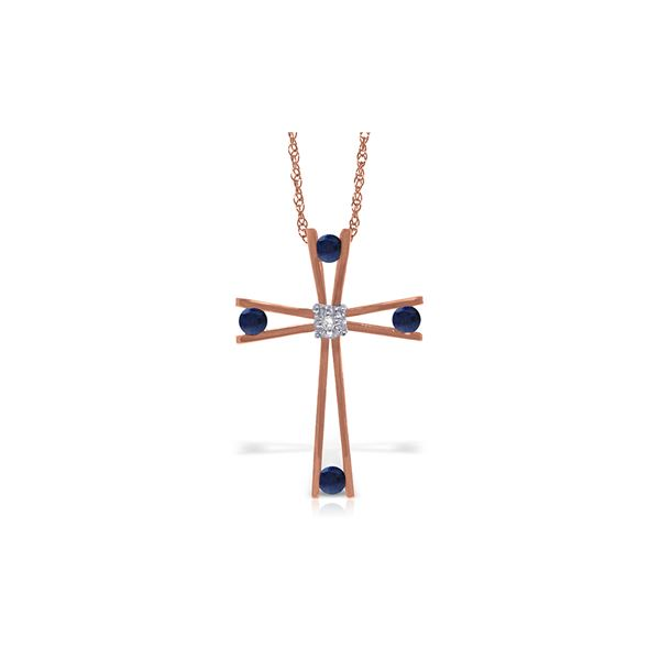 Genuine 0.53 ctw Sapphire & Diamond Necklace 14KT Rose Gold - REF-79T4A