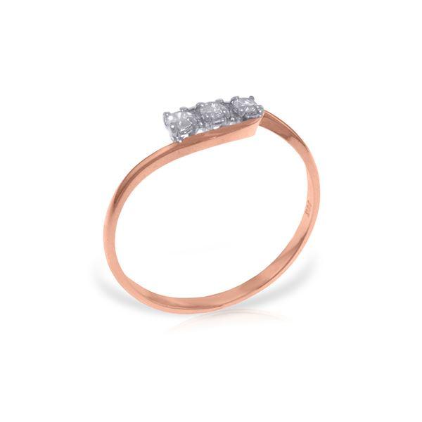 Genuine 0.15 ctw Diamond Anniversary Ring 14KT Rose Gold - REF-36X9M