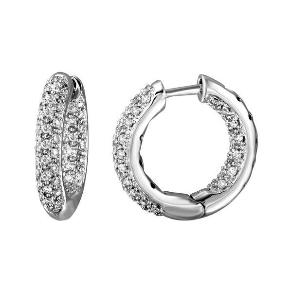 0.8 CTW White Round Diamond Hoop  Earring 18K White Gold - REF-136T4X