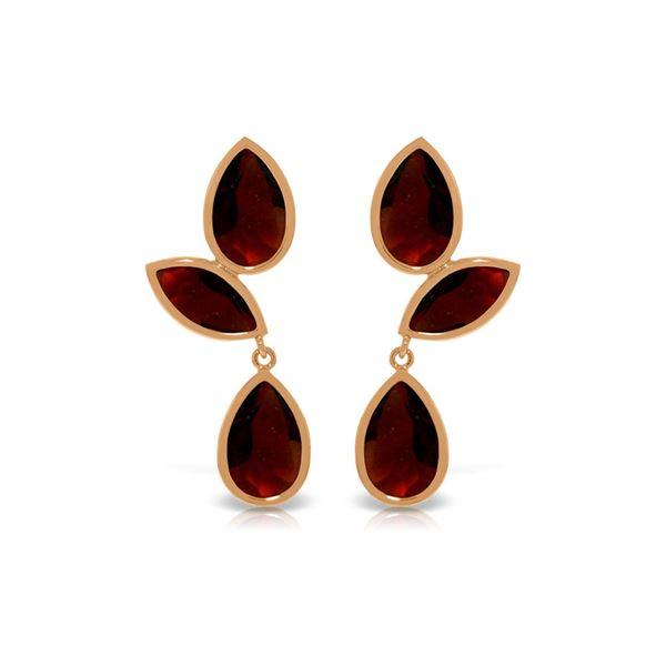 Genuine 13 ctw Garnet Earrings 14KT Rose Gold - REF-62W4Y