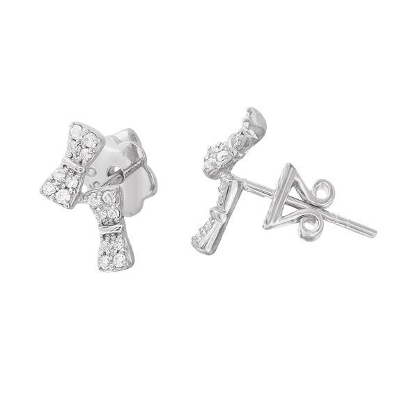 Natural 0.20 CTW Diamond Earrings 18K White Gold - REF-42W3H