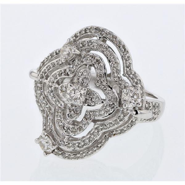 Natural 1.23 CTW Diamond Ring 18K White Gold - REF-207F2M