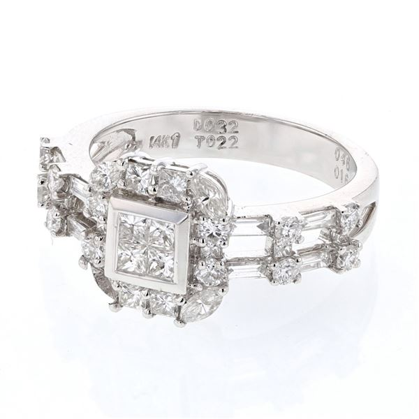 Natural 1.16 CTW Princess Diamond Ring 14K White Gold - REF-149T4X