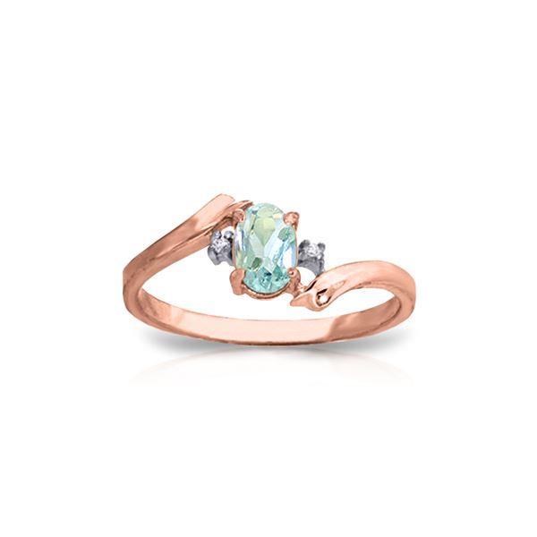 Genuine 0.46 ctw Aquamarine & Diamond Ring 14KT Rose Gold - REF-29F3Z