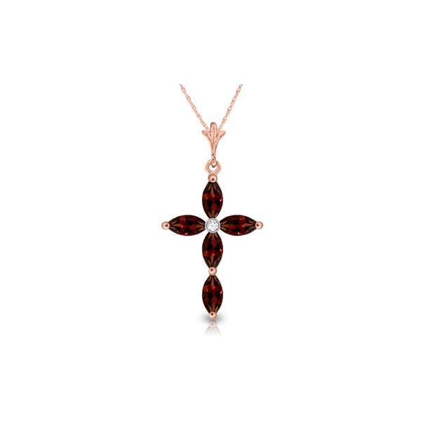 Genuine 1.23 ctw Garnet & Diamond Necklace 14KT Rose Gold - REF-30M3T