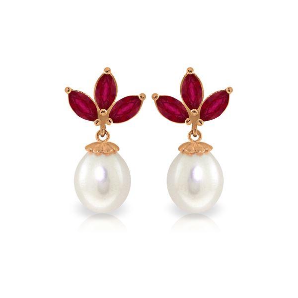 Genuine 9.5 ctw Ruby & Pearl Earrings 14KT Rose Gold - REF-35F2Z